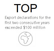 Export declarations for the first two consecutive years exceeded $100 million